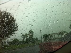 rain on car