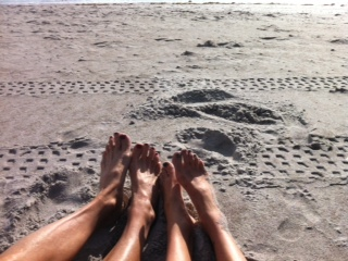 Cocoa Beach toes in the sand